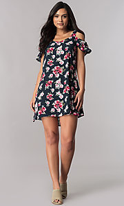 Image of short navy blue casual shift dress with floral print. Style: VE-885-211103-1 Detail Image 1