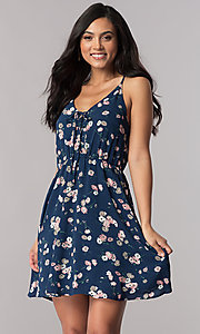 Short Navy Blue Casual Day Dress with Floral Print