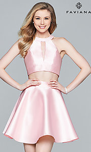 Image of short racer-neck two-piece homecoming dress. Style: FA-8060 Front Image