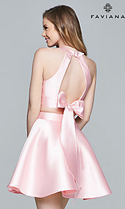 Image of short racer-neck two-piece homecoming dress. Style: FA-8060 Back Image