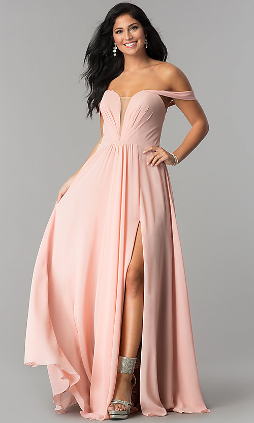 Image of off-the-shoulder chiffon formal long evening dress. Style: FA-8088 Detail Image 3