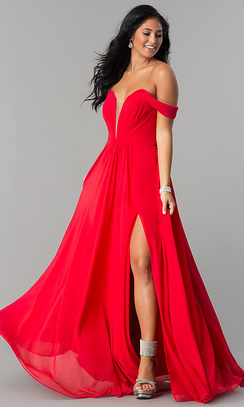 Image of off-the-shoulder chiffon formal long evening dress. Style: FA-8088 Detail Image 2