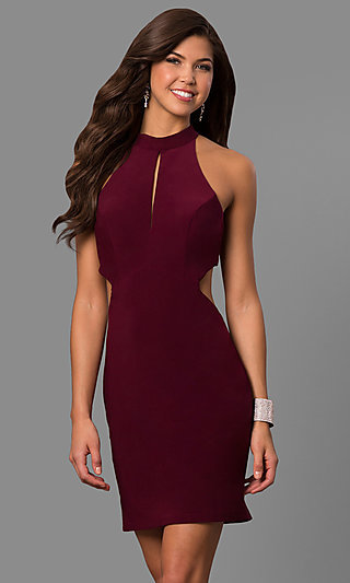 Short High-Neck Cut-Out-Back Homecoming Party Dress