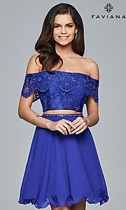 Off the Shoulder Two Piece Homecoming Dress