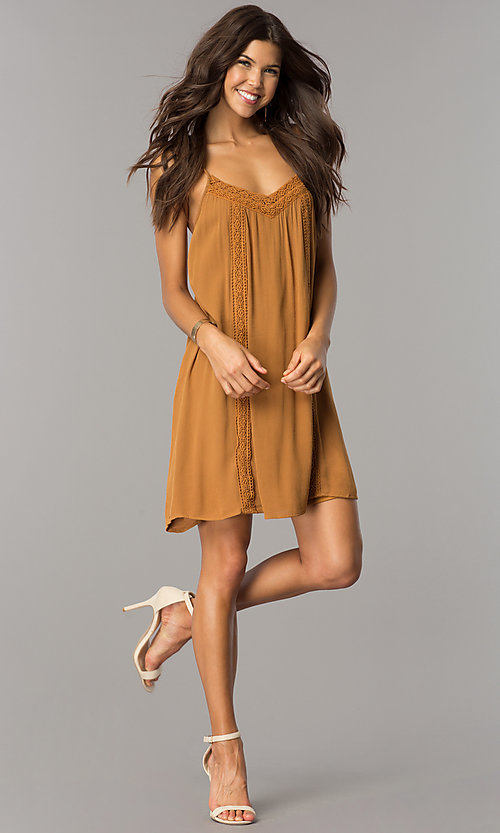Image of mustard gold short casual shift dress with straps.  Style: CT-FAN-7562B Detail Image 1
