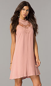 Image of short lace-yoke casual party dress in vintage pink. Style: CT-FAN-7876B Front Image
