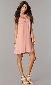 Image of short lace-yoke casual party dress in vintage pink. Style: CT-FAN-7876B Detail Image 1