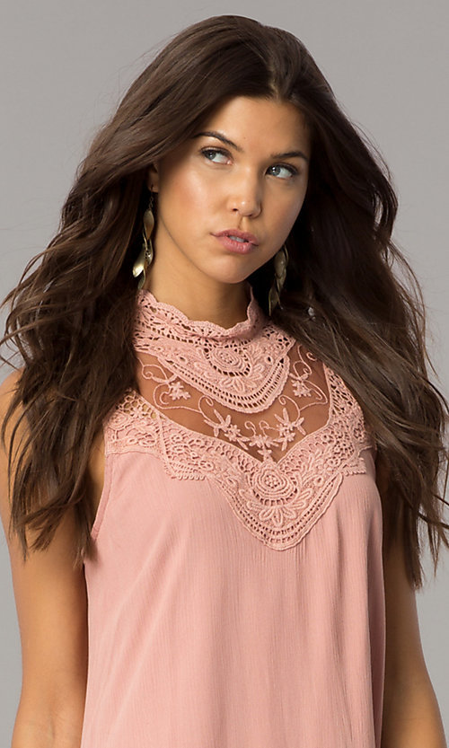 Image of short lace-yoke casual party dress in vintage pink. Style: CT-FAN-7876B Detail Image 2