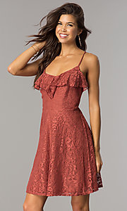 Short Casual Lace Party Dress with Ruffled V-Neck