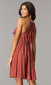 Image of short casual lace party dress with ruffled v-neck. Style: CT-KPU-7903A Back Image