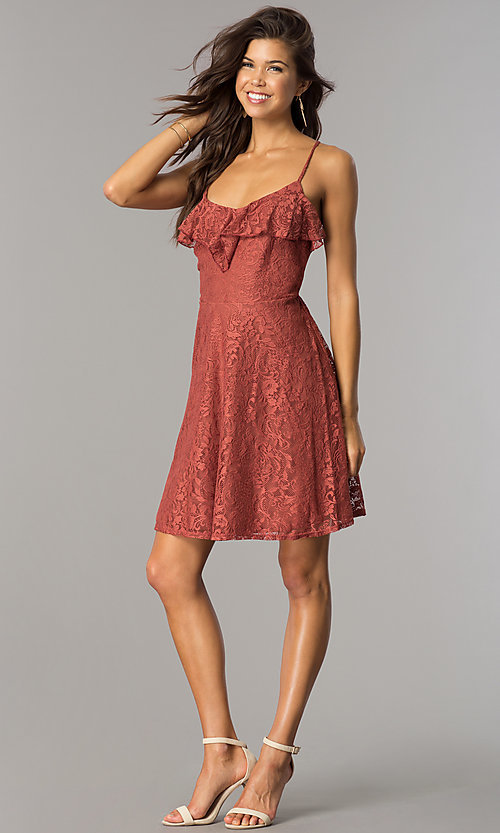Image of short casual lace party dress with ruffled v-neck. Style: CT-KPU-7903A Detail Image 1