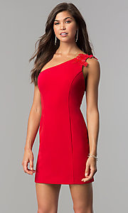 One-Shoulder Short Red Party Dress in Junior Sizes