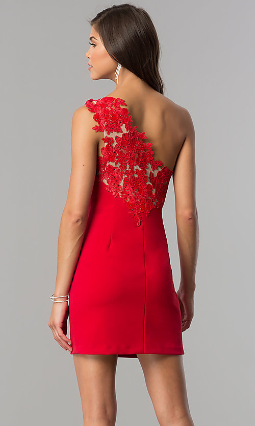 Image of one-shoulder short red party dress in junior sizes. Style: DMO-J317937 Back Image