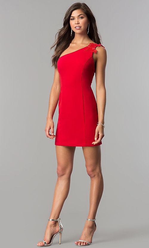 Image of one-shoulder short red party dress in junior sizes. Style: DMO-J317937 Detail Image 1
