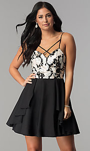 Black Chiffon Party Dress with Champagne Floral Print
