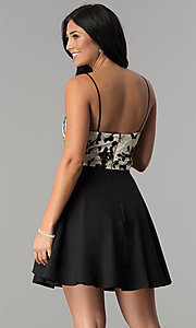 Image of black chiffon party dress with champagne floral print. Style: DMO-J318137 Back Image
