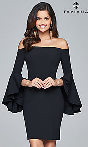 Off the Shoulder Homecoming Dress with Sleeves