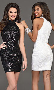 Short Sequin Racer Neck Homecoming Dress
