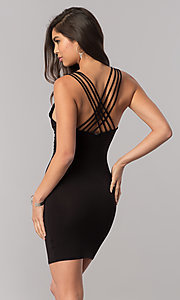 Image of v-neck black short party dress with multiple straps. Style: TM-DR5416-700909 Front Image
