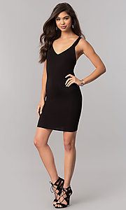Image of v-neck black short party dress with multiple straps. Style: TM-DR5416-700909 Detail Image 1