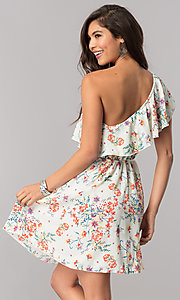 Image of floral-print short ruffled one-shoulder day dress. Style: TM-DR5566-702573 Detail Image 3