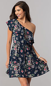 Floral-Print Short Ruffled One-Shoulder Day Dress