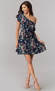 Image of floral-print short ruffled one-shoulder day dress. Style: TM-DR5566-702573 Detail Image 1