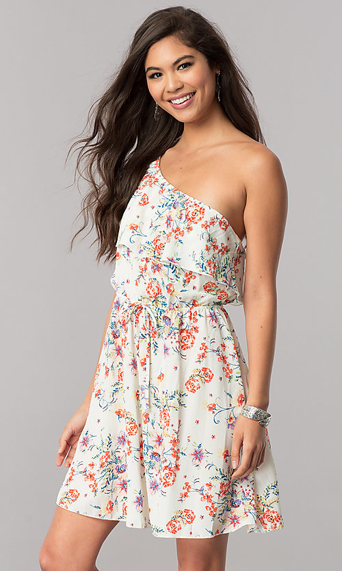 Image of floral-print short ruffled one-shoulder day dress. Style: TM-DR5566-702573 Detail Image 2