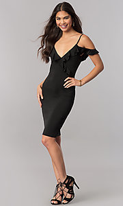 Image of off-the-shoulder black v-neck party dress with ruffle. Style: TM-DR5508-66940 Detail Image 1