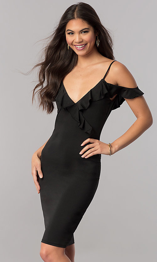 Image of off-the-shoulder black v-neck party dress with ruffle. Style: TM-DR5508-66940 Front Image