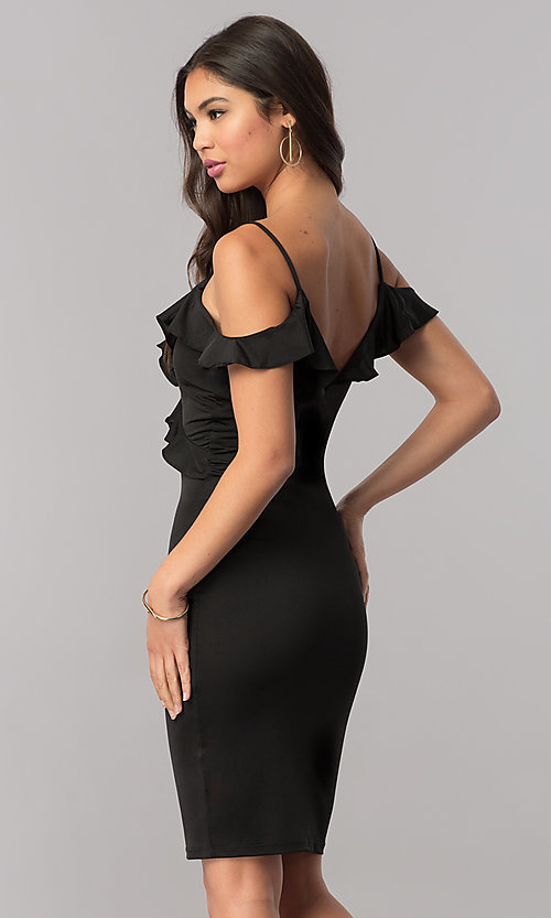 Image of off-the-shoulder black v-neck party dress with ruffle. Style: TM-DR5508-66940 Back Image