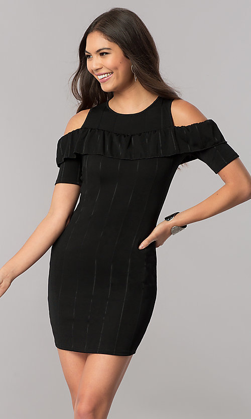 Image of short cold-shoulder striped party dress with ruffle. Style: TM-DR5503-701029 Front Image
