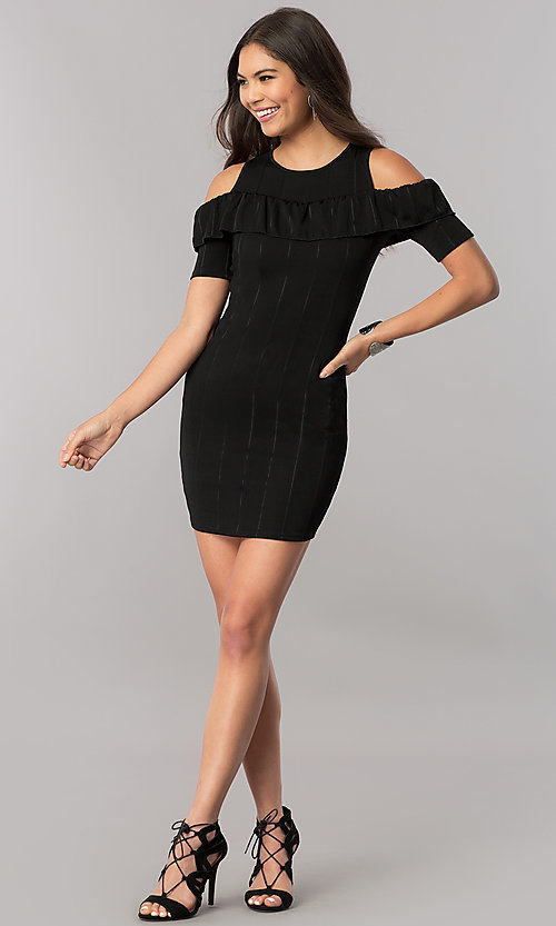 Image of short cold-shoulder striped party dress with ruffle. Style: TM-DR5503-701029 Detail Image 1