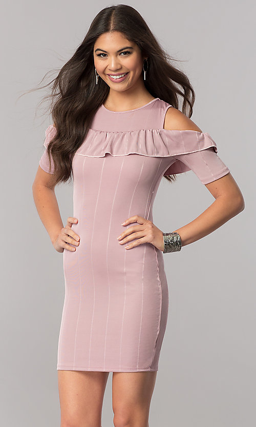 Image of short cold-shoulder striped party dress with ruffle. Style: TM-DR5503-701029 Detail Image 2