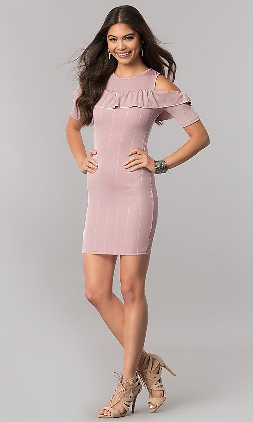 Image of short cold-shoulder striped party dress with ruffle. Style: TM-DR5503-701029 Detail Image 3
