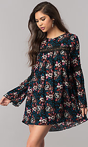 Short Print Long Sleeve Casual Shift Dress