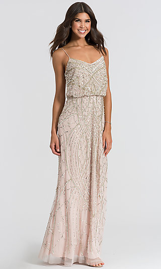 Beaded Long Prom Dress by Adrianna Papell