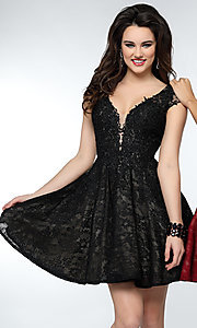 Short Lace Homecoming Dress with Cap Sleeves
