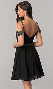 Image of short cold-shoulder chiffon homecoming dress. Style: PO-8028 Back Image