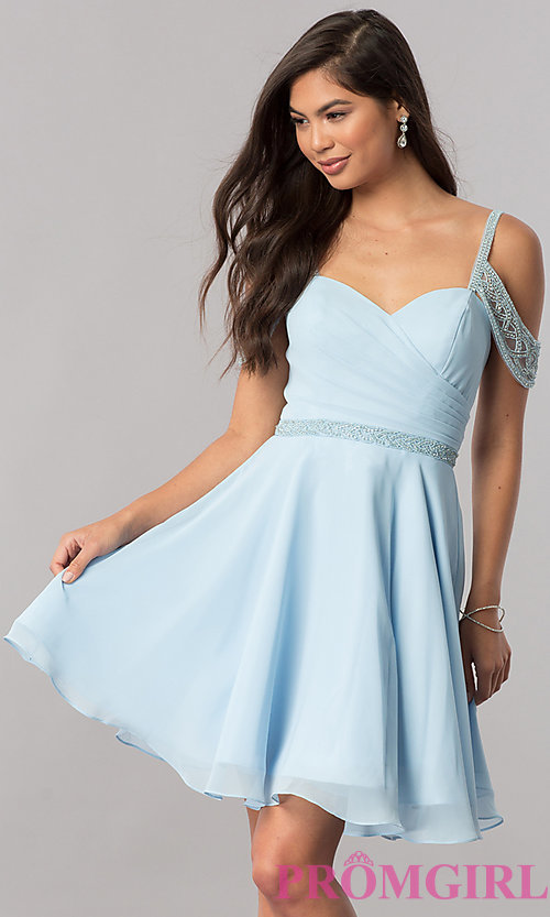 Image of short cold-shoulder chiffon homecoming dress. Style: PO-8028 Front Image