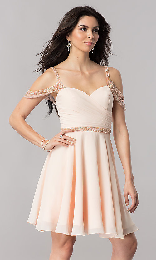 Image of short cold-shoulder chiffon homecoming dress. Style: PO-8028 Detail Image 3
