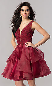 Image of short v-neck homecoming dress with tiered skirt. Style: PO-8178 Detail Image 2