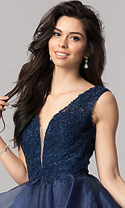 Image of short v-neck homecoming dress with tiered skirt. Style: PO-8178 Detail Image 1