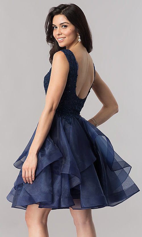 Image of short v-neck homecoming dress with tiered skirt. Style: PO-8178 Back Image