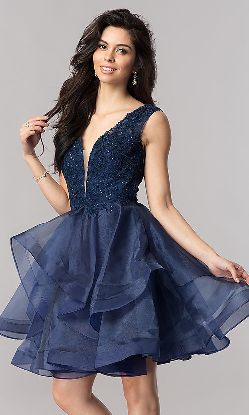 Image of short v-neck homecoming dress with tiered skirt. Style: PO-8178 Front Image