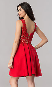 Image of short illusion v-neck prom dress with lace applique. Style: PO-8004 Back Image