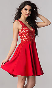 Short Illusion V-Neck Prom Dress with Lace Applique