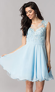 Short Chiffon Homecoming Dress with Illusion Neckline
