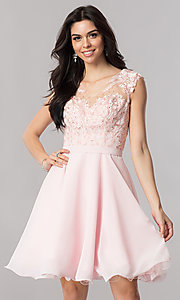 Image of a-line chiffon illusion-sweetheart short prom dress. Style: PO-8094 Detail Image 2