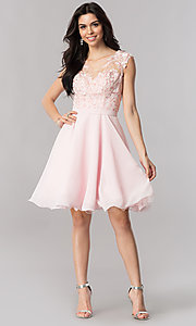 Image of a-line chiffon illusion-sweetheart short prom dress. Style: PO-8094 Detail Image 3